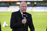 Ian Holloway doing pre match analysis with Sky Sports. Skybet football league two play off semi final, 1st leg match, AFC Wimbledon v Accrington Stanley at the Cherry Red Records Stadium in Kingston upon Thames, Surrey on Saturday 14th May 2016.<br /> pic by John Patrick Fletcher, Andrew Orchard sports photography.