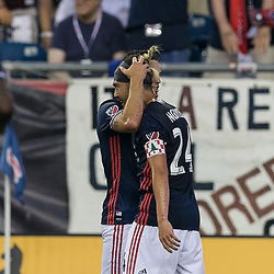 July 22, 2017 - Foxborough, Massachusetts, USA - Foxborough, Massachusetts - July 22, 2017: First half action. In a Major League Soccer (MLS) match, New England Revolution (blue/white) vs LA Galaxy (white), at Gillette Stadium. (Credit Image: © Andrew Katsampes/ISIPhotos via ZUMA Wire)