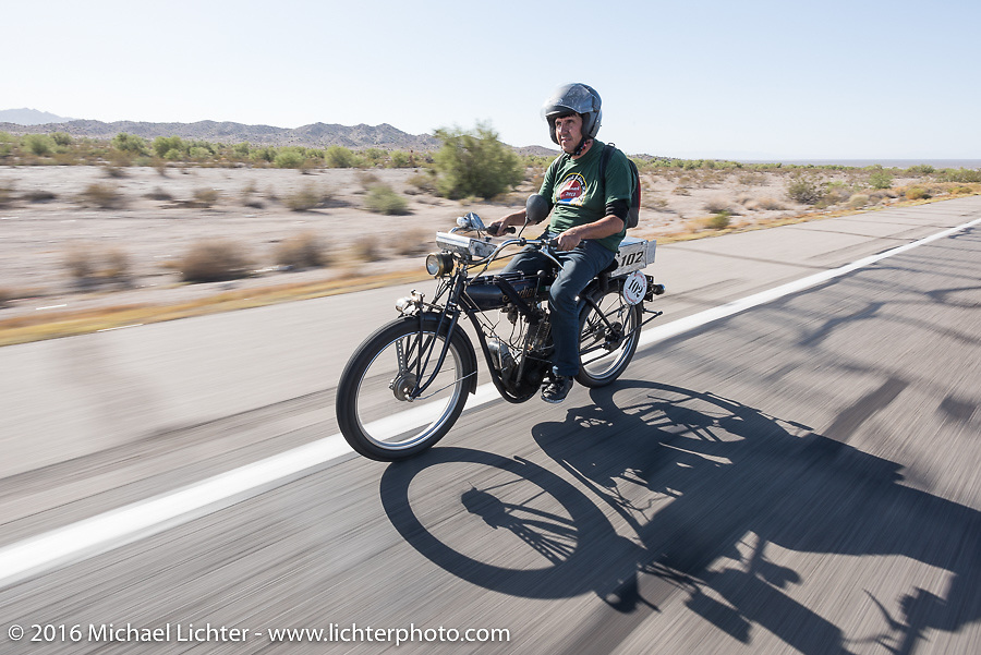 Ciro Nisi of Italy riding his class-1, single-cylinder, single speed 1912 Indian during the Motorcycle Cannonball Race of the Century. Stage-13 ride from Williams, AZ to Lake Havasu CIty, AZ. USA. Friday September 23, 2016. Photography ©2016 Michael Lichter.