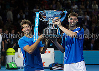 Barclays ATP World Tour Finals 2012 ..Marcel Granollers (SPA) and Marc Lopez (SPA) beat Mahesh Bhupathi (IND) and Rohan Bopanna (IND)  7:5  3:6  10:3 in the Mens Doubles Final..Images taken by Richard Washbrooke.