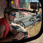 Alan Stoner, 21, drives a grain cart to collect harvested wheat from the combine reflected in his side view mirror. Crowell, Texas, May 2017.