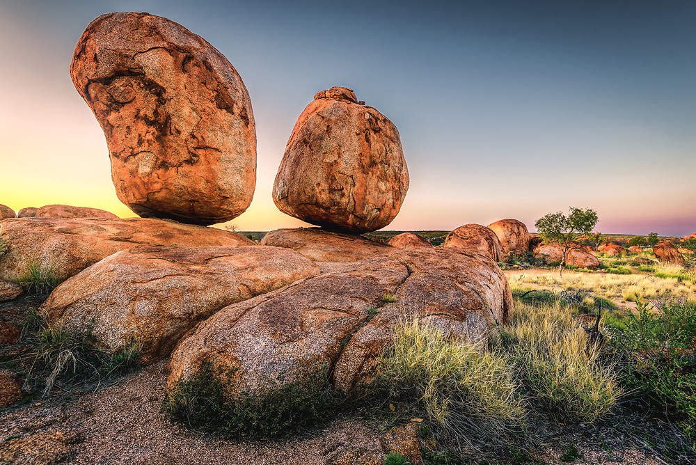 Devils Marbles in the middle of nowhere in Northern Territory