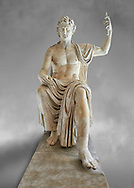 Roman colossal seated staue of Augustus Caesar, white marble, late first century B.C, inv 6040, Naples National Archaeological Museum, grey art background ..<br /> <br /> If you prefer to buy from our ALAMY STOCK LIBRARY page at https://www.alamy.com/portfolio/paul-williams-funkystock/greco-roman-sculptures.html . Type -    Naples    - into LOWER SEARCH WITHIN GALLERY box - Refine search by adding a subject, place, background colour, etc.<br /> <br /> Visit our ROMAN WORLD PHOTO COLLECTIONS for more photos to download or buy as wall art prints https://funkystock.photoshelter.com/gallery-collection/The-Romans-Art-Artefacts-Antiquities-Historic-Sites-Pictures-Images/C0000r2uLJJo9_s0