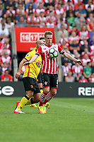 Football - 2016 / 2017 Premier League - Southampton vs. Watford<br /> Southampton's Steven Davis chests the ball done during the second half at St Mary's Stadium Southampton <br /> <br /> Colorsport/Shaun Boggust