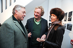 Left to right, COUNT EDMONDO di ROBILANT, CHRISTOPHER SIMON SYKES and his wife ISABELLA at a private view of photographs by Nick Ashley held at the Sladmore Gallery, 32 Bruton Place, London on 13th January 2010.