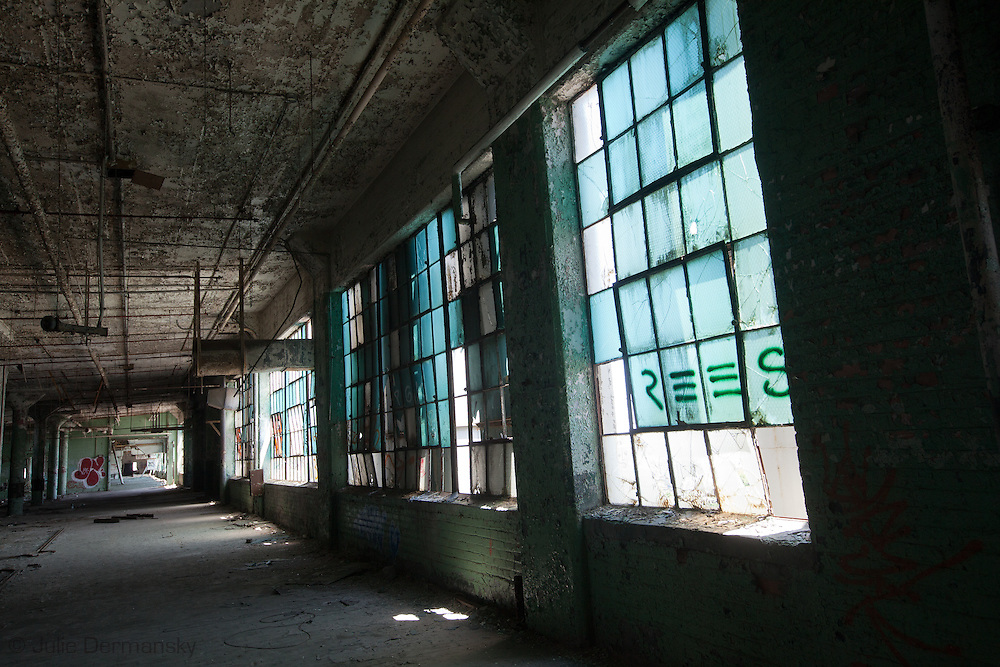 Interior of the abandoned Fischer Plant where car parts were made for General Motors in Detroit.