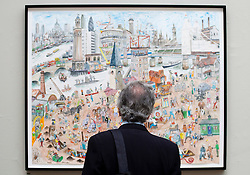 © licensed to London News Pictures. LONDON, UK  02/06/11. A visitor to the Royal Academy of the Arts Summer Exhibition looks at a piece of art. The Royal Academy of the Arts Summer Exhibition is the largest open contemporary art exhibition in the world, with pieces contributed by established, unknown and emerging artists. Please see special instructions for usage rates. Photo credit should read Matt Cetti-Roberts/LNP