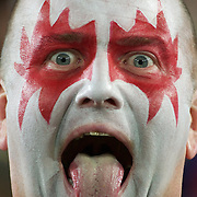 A welsh fan during the Wales V France Semi Final match at the IRB Rugby World Cup tournament, Eden Park, Auckland, New Zealand, 15th October 2011. Photo Tim Clayton...