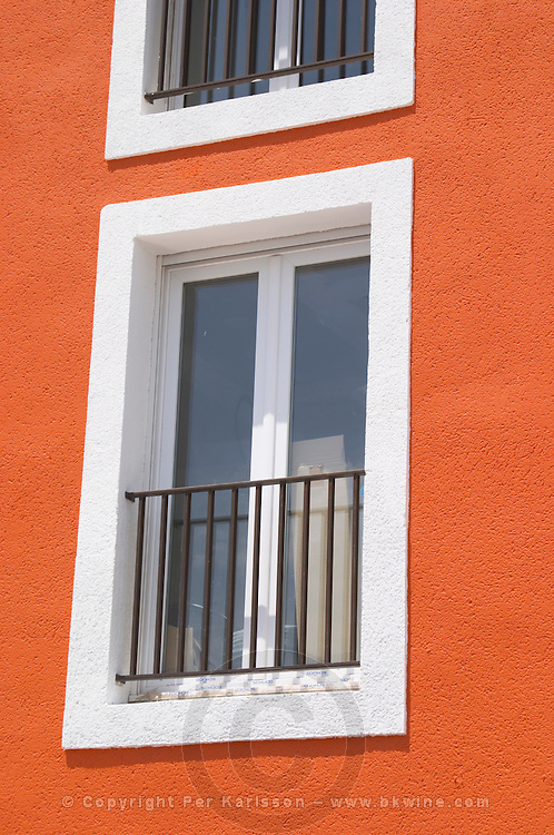White window on red wall. Bouzigues Languedoc. Window. France. Europe.