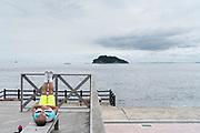 exercising at Umikaze park, Yokosuka with Tokyo Bay and Sarushima Island