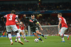 LONDON, ENGLAND - Oct 01: Napoli's midfielder Marek Hamsík from Slovakia runs at the Arsenal defence during the UEFA Champions League match between Arsenal from England and Napoli from Italy played at The Emirates Stadium, on October 01, 2013 in London, England. (Photo by Mitchell Gunn/ESPA)