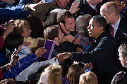 US Senator and Democratic Presidential nominee Barack Obama greets supporters during a rally in Manassas, Virginia, USA, 03 November 2008. The rally comes on the last day of campaigning before the presidential elections 04 November 2008.