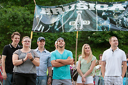 Luka Gracnar, Kelsey Rae Braunecker and Gasper Kopitar at Slovenian ice-hockey player NHL Champion Anze Kopitar welcome ceremony when he arrived home after winning Stanley Cup at the end of season 2011/2012, on June 20, 2012, at Hrusica, Jesenice, Slovenia. (Photo By Matic Klansek Velej / Sportida)