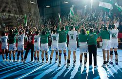 Team of Gyori celebrates after EHF Champions league handball match in Group II between RK Krim Mercator and Gyori Audi Eto KC, on February 7, 2009, in Kodeljevo, Ljubljana, Slovenia. Gyori won 35:31. (Photo by Vid Ponikvar / Sportida)