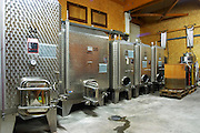 Small Stainless steel fermentation vats.  Domaine Yves Cuilleron, Chavanay, Ampuis, Rhone, France, Europe