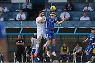 Cove Rangers' Scott Ross (5) and Peterhead's Hamish Ritchie (7) battles for possession, tussles, tackles, challenges, during the Premier Sports Scottish League Cup match between Peterhead and Cove Rangers at Balmoor, Peterhead, Scotland on 17 July 2021.