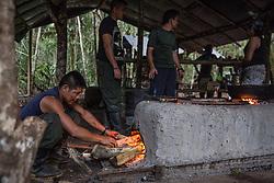 El Diamante, Meta, Colombia - 17.09.2016        <br /> <br /> Kitchen area of the guerilla camp during the 10th conference of the marxist FARC-EP in El Diamante, a Guerilla controlled area in the Colombian district Meta. Few days ahead of the peace contract passing after 52 years of war with the Colombian Governement wants the FARC decide on the 7-days long conferce their transformation into a unarmed political organization. <br /> <br /> Kueche des Guerilla-Camps zur zehnten Konferenz der marxistischen FARC-EP in El Diamante, einem von der Guerilla kontrollierten Gebiet im kolumbianischen Region Meta. Wenige Tage vor der geplanten Verabschiedung eines Friedensvertrags nach 52 Jahren Krieg mit der kolumbianischen Regierung will die FARC auf ihrer sieben taegigen Konferenz die Umwandlung in eine unbewaffneten politischen Organisation beschlieflen. <br />  <br /> Photo: Bjoern Kietzmann