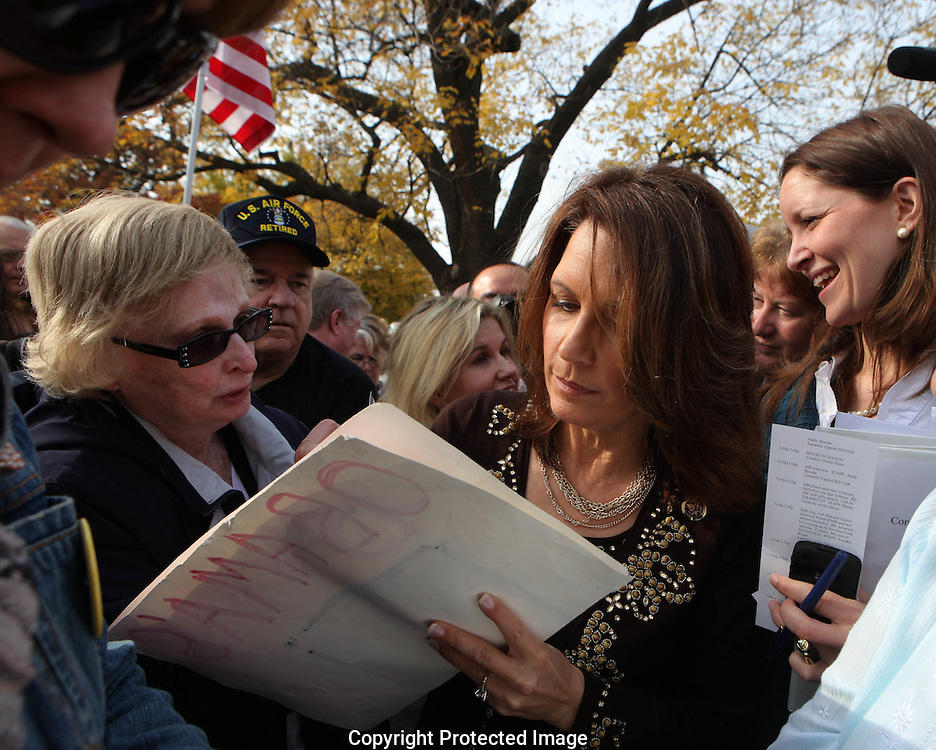 Michele Bachmann  signs for her fans at a Capitol Hill rally asking Senators to respect the will of the people in the Lame Duck Session sponsored by Americans for Prosperity on Novembee 15, 2010.  Photograph by Dennis Brack