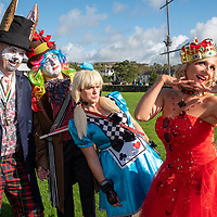 REPRO FREE<br /> The 'March Hare' Noel Henderson; 'Alice' Karen Gibson; 'The Queen of Hearts' Natacha Farley and 'The Mad Hatter' Charles Henderson pictured at the 43nd Kinsale Gourmet Festival Mad Hatters Taste of Kinsale.<br /> Picture. John Allen