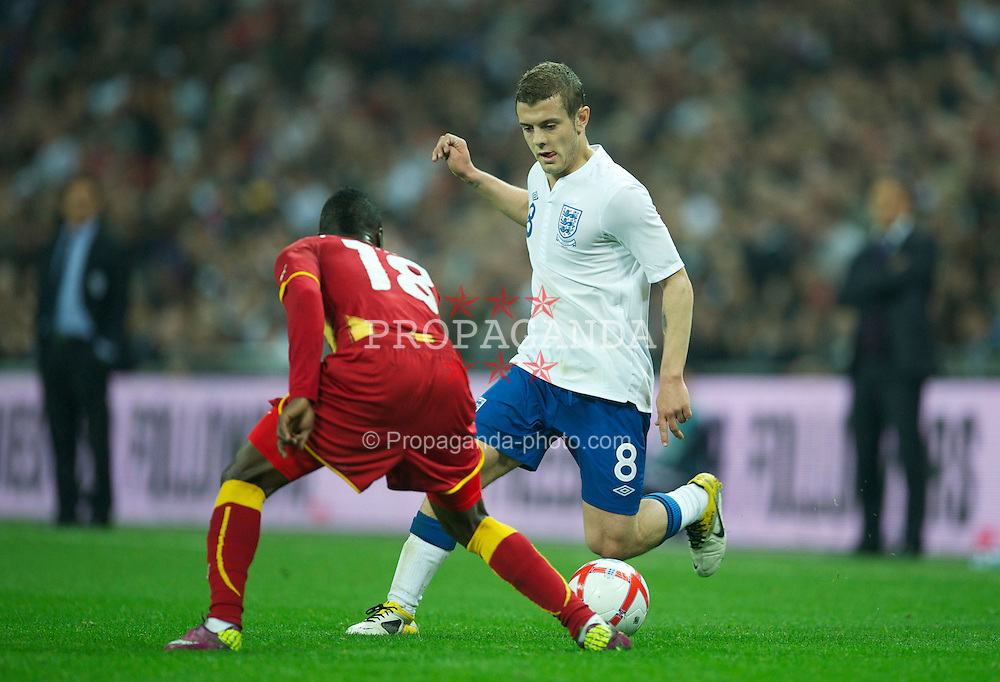LONDON, ENGLAND - Tuesday, March 29, 2011: England's Jack Wilshere in action against Ghana during the international friendly match at Wembley Stadium. (Photo by David Rawcliffe/Propaganda)