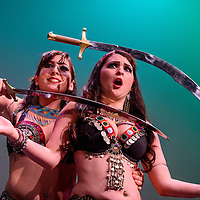 060615       Cable Hoover<br /> <br /> Sadie Adair, left, and Lorena Martinez Burr perform as The Desert Darlings during the Danse De Femme belly dancing showcase Saturday at El Morro Theatre in Gallup.