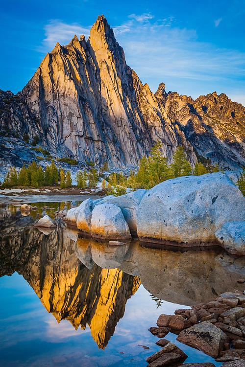 Gnome Tarn and Prusik Peak in the Enchantment Lakes area of Alpine Lakes Wilderness, Washington