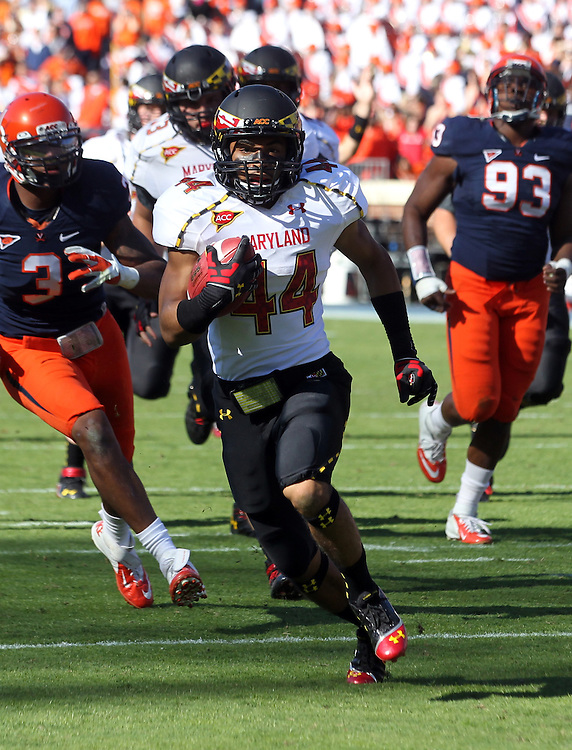 Maryland Terrapins running back Justus Pickett (44) the ball in for a touchdown during the game against Virginia in Charlottesville, Va. Maryland defeated Virginia 27-20.