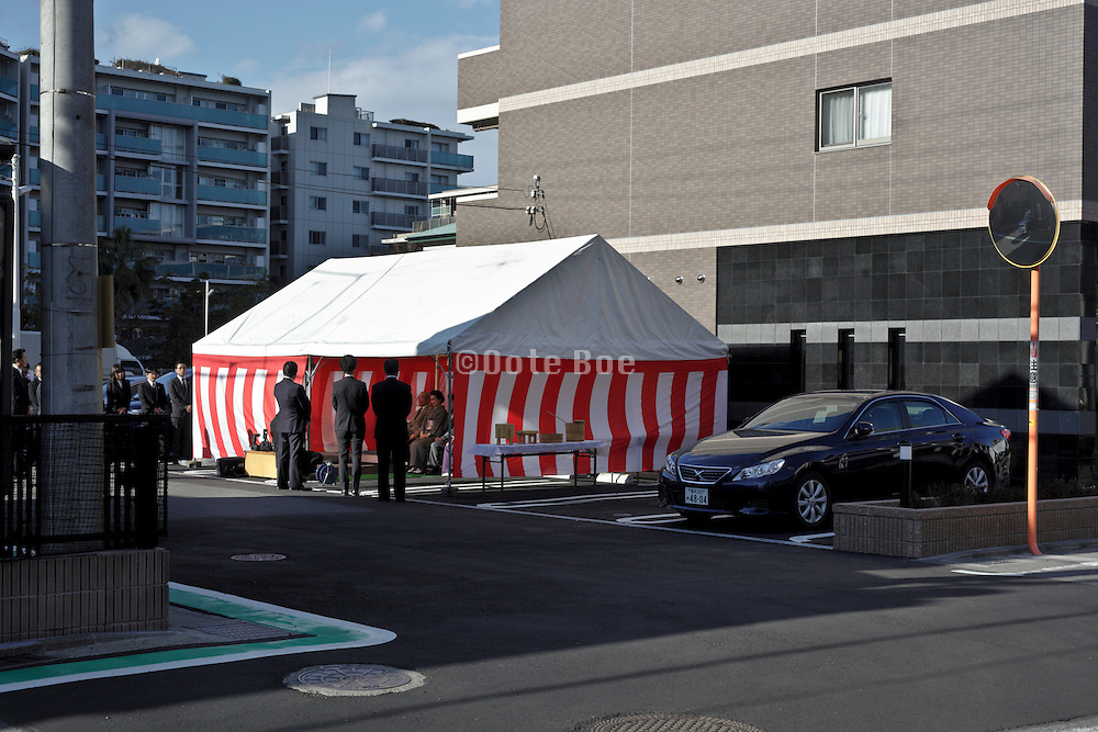 new building delivery and wishing for good luck formal ceremony in Yokosuka Japan