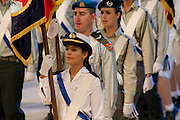 Israel, Jerusalem, Mount Herzl, Israel's independence day parade 61 years to the state of Israel 28/4/09 Military flag bearers on parade Close up of a navy soldier
