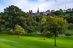 View across Princes Street Gardens to The Mound and the Old Town in Edinburgh, Scotland, United Kingdom.