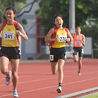 HCI's Arissa Rashid (#241) finished ahead of her teammate Vera Wah (#270) in the National A Division Girls 1500m race with a time of 05:13.12. (Photo © Stefanus Ian)