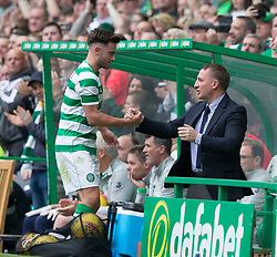Celtic's Patrick Roberts is greeted by manager Brendan Rodgers as he is substituted during the testimonial match at Celtic Park, Glasgow.