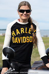 Cris Sommer Simmons at the start of the Motorcycle Cannonball coast to coast vintage run. Portland, ME. Friday September 7, 2018. Photography ©2018 Michael Lichter.