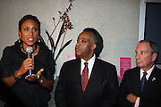 l to r: Robin Roberts, Rev. Al Sharpton and Mayor Michael Bloomberg at Rev. Al Sharpton's 55th Birthday Celebration and his Salute to Women on Distinction held at The Penthouse of the Soho Grand on October 6, 2009 in New York City