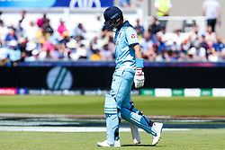 Joe Root of England cuts a dejected figure after getting out to Trent Boult of New Zealand - Mandatory by-line: Robbie Stephenson/JMP - 03/07/2019 - CRICKET - Emirates Riverside - Chester-le-Street, England - England v New Zealand - ICC Cricket World Cup 2019 - Group Stage