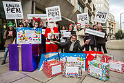The Howard League, English PEN and Santa delivering books for prisoners to the Ministry of Justice HQ, central London.