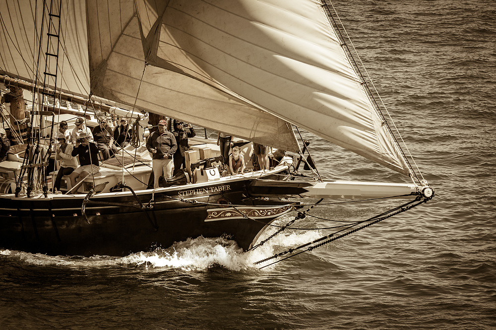 The Schooner Stephen Taber as seen from Rockland Breakwater Lighthouse during the annual Parade of Sail.
