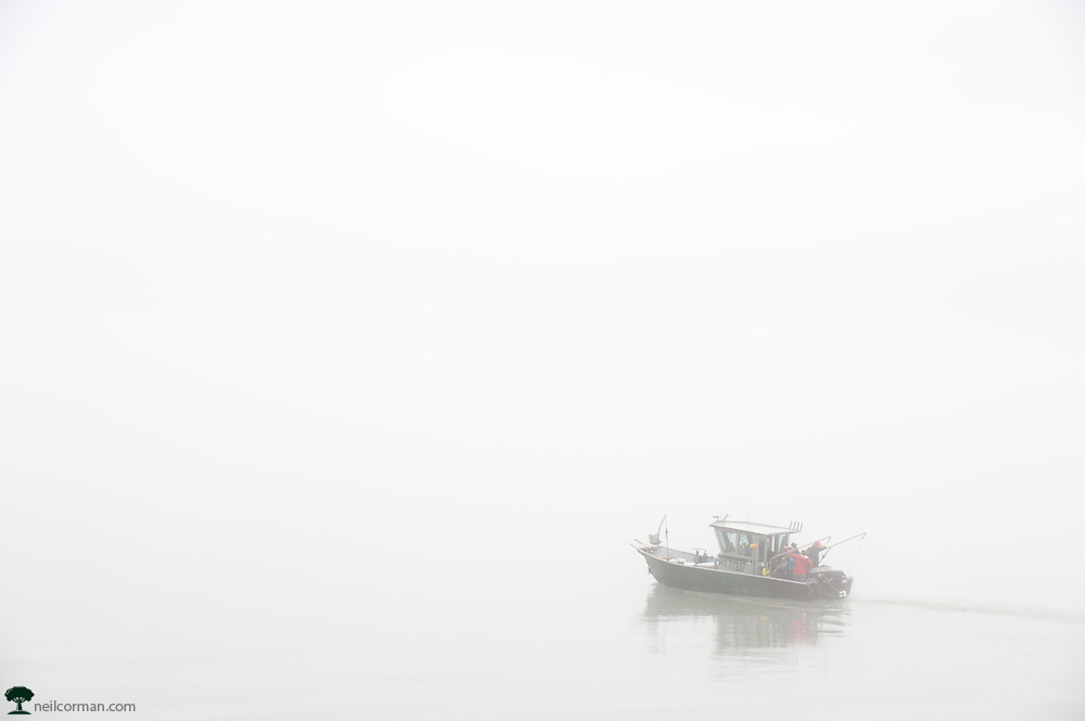 During the summer of 2014 I was out photographing around Douglas Island when I encountered a boat heading into the fog to go fishing. This is a color photograph, which if you look carefully you may be able to find a glimpse of some color near the pilothouse. After I took this image, I headed back towards downtown Juneau where the fog was not bad at all along the Gastineau Channel.
