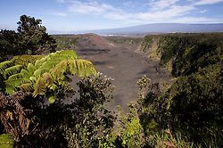 """Kilauea Iki crater was the site of a volcanic eruption in 1959 in Hawaii Volcanoes National Park on the Big Island of Hawaii. The barren hill just above the crater is the cinder and spatter cone Pu'u Pua'i (gushing hill). During that eruption, fountains of lava shot into the sky as high as 1,900 feet from the eruption vent at the base of the hill. Beyond Pu'u Pua'i is the Kilauea caldera with its Halemaumau crater. In the far background Mauna Loa rises to a height of 13,679 ft. Mauna Loa is the world's largest shield volcano in terms of volume and area covered. Mauna Loa, an active volcano, means """"Long Mountain"""" in Hawaiian and is one of the five volcanoes that make up the Big Island of Hawaii."""