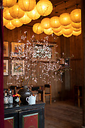 Chinese style architecture and flowers inside of Pig's Inn, Bishan, Anhui Province, China