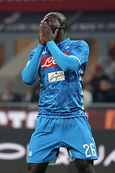 January 26, 2019 - Milan, Milan, Italy - Kalidou Koulibaly #26 of SSC Napoli reacts to a missed chance during the serie A match between AC Milan and SSC Napoli at Stadio Giuseppe Meazza on January 26, 2018 in Milan, Italy. (Credit Image: © Giuseppe Cottini/NurPhoto via ZUMA Press)
