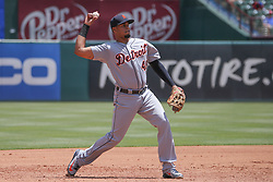 May 9, 2018 - Arlington, TX, U.S. - ARLINGTON, TX - MAY 09: Detroit Tigers third baseman Jeimer Candelario (46) throws to first base during the game between the Detroit Tigers and the Texas Rangers on May 9, 2018 at Globe Life Park in Arlington, TX. (Photo by George Walker/Icon Sportswire) (Credit Image: © George Walker/Icon SMI via ZUMA Press)