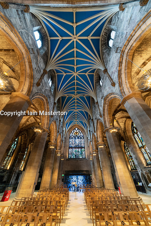 View of  St Giles Cathedral in Edinburgh Old Town, Scotland, UK