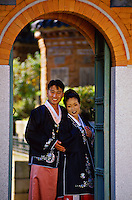Korean bride and groom posing for wedding photo at Kyongbokkung Palace, Seoul, South Korea