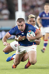 September 20, 2019, Tokyo, Japan: Russia's Vladimir Ostroushko is tackled by Japan's Lomano Lemeki during the Rugby World Cup 2019 Pool A match between Japan and Russia at Tokyo Stadium. Japan defeats Russia 30-10. (Credit Image: © Rodrigo Reyes Marin/ZUMA Wire)