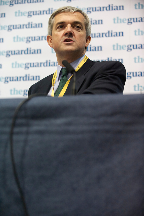 Secretary of State for Energy and Climate Change, MP Chris Huhne  reacts during a panel discussion regarding politics after the election sponsored by the Guardian during the Liberal Democrats Autumn Conference in Liverpool on 19 September 2010.  This was the first party conference since the government coalition with the tories.