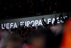 May 3, 2018 - Madrid, Spain - Atletico de Madrid supporters celebrating the victory during Europa League Semi Finals First Leg match between Atletico de Madrid and Arsenal FC at Wanda Metropolitano in Madrid, Spain. May 03, 2018. (Credit Image: © Coolmedia/NurPhoto via ZUMA Press)