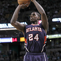 10 May 2012: Atlanta Hawks small forward Marvin Williams (24) takes a jumpshot during the Boston Celtics 83-80 victory over the Atlanta Hawks, in Game 6 of the Eastern Conference first-round playoff series, at the TD Banknorth Garden, Boston, Massachusetts, USA.