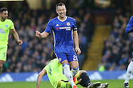 John Terry, the Chelsea captain reacts after missing a chance to score. The Emirates FA cup, 3rd round match, Chelsea v Peterborough Utd at Stamford Bridge in London on Sunday 8th January 2017.<br /> pic by John Patrick Fletcher, Andrew Orchard sports photography.