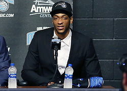 June 22, 2018 - Orlando, FL, USA - Orlando Magic draft pick Justin Jackson speaks during a news conference at the Amway Center in Orlando, Fla., on Friday, June 22, 2018. (Credit Image: © Stephen M. Dowell/TNS via ZUMA Wire)